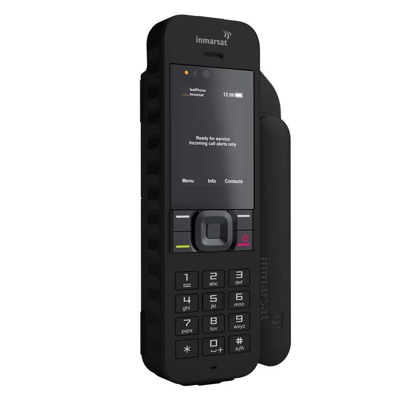 beste satelittelefon svart isatphone 2.1 med hvitbakgrunn